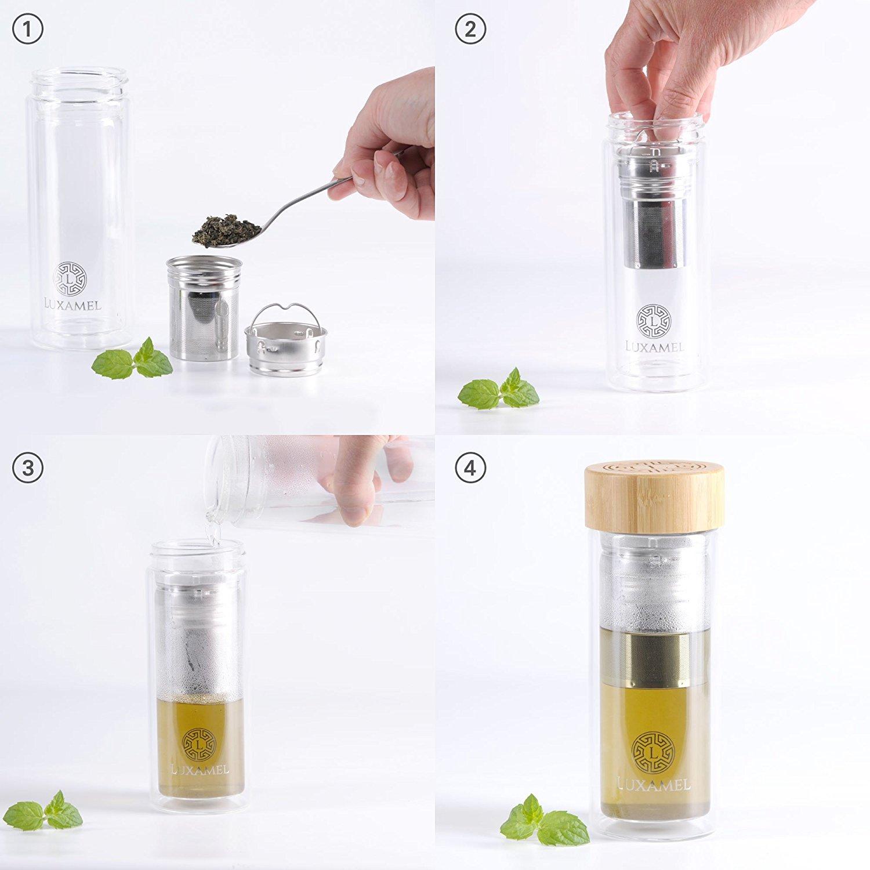 doppelwandige teeflasche inkl teezubereiter trinkflasche aus glas 450ml ebay. Black Bedroom Furniture Sets. Home Design Ideas