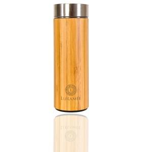 Doppelwandige Teeflasche im Bambusmantel