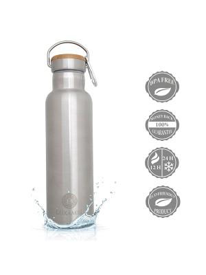 Edelstahl-Sportflasche doppelwandig gebürstet