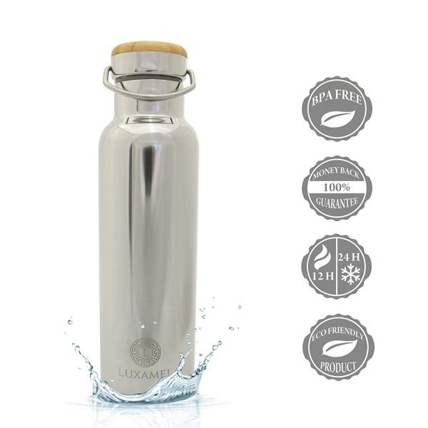Edelstahl-Trinkflasche Chrom