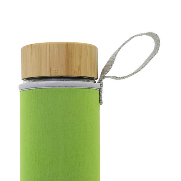 Grüne Thermohülle für Teeflasche aus Neopren