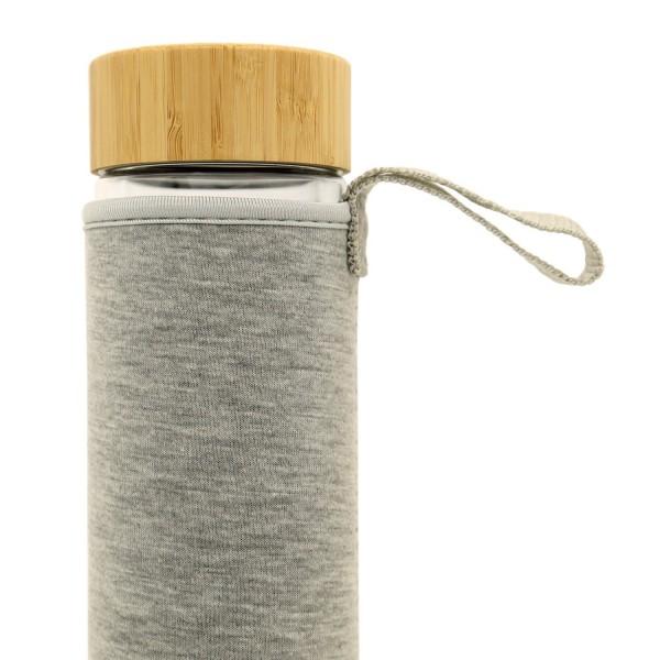 Graue Thermohülle für Teeflasche aus Neopren