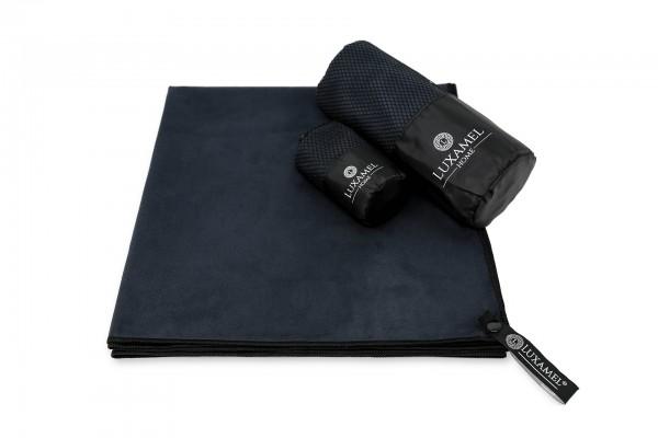Microfaser Handtuch 80x40 schwarz inkl. Tasche