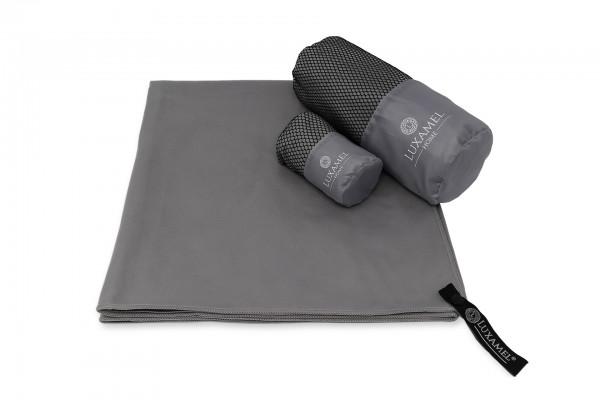 Microfaser Handtuch 70x140 grau inkl. Tasche