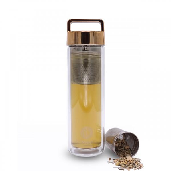 Teeflasche Gold mit Tragegriff 380ml