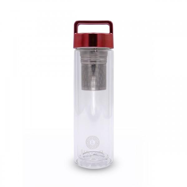 Doppelwandige Teeflasche rot 380ml